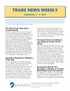 Trade news weekly